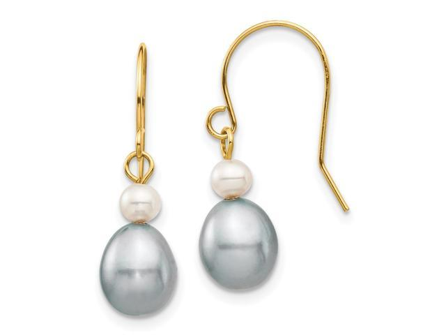 14k Yellow Gold 4 7mm White Grey Round Rice Fw Cultured Pearl Dangle Earrings
