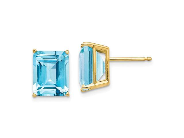 14k Yellow Gold 10x8mm Emerald Cut Blue Topaz Stud Earrings Newegg