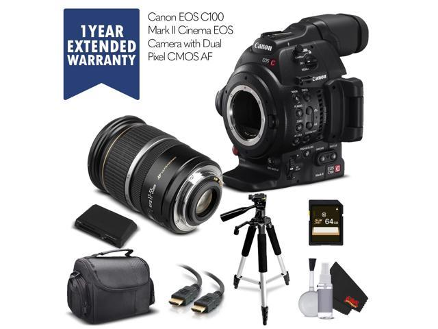 Canon EOS C100 Mark II with Dual Pixel CMOS AF (Intl Model) & 17-55MM Lens  with Memory Card, Case, Tripod, and Extended Warranty - Starter Bundle -