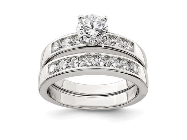 Sterling Silver 925 Thunderbolt Ring With Clear Cubuc Zirconia Stones SizeN