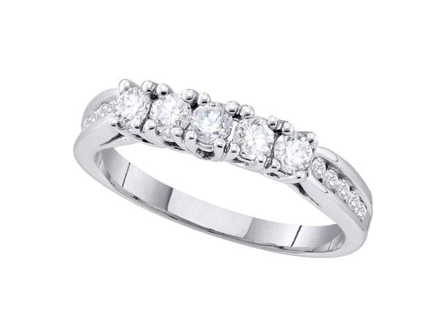 14k White Gold Womens Round Diamond 5 Stone Bridal Wedding