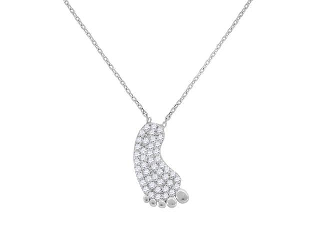 925 Sterling Silver Womens Round Cubic Zirconia Foot Pendant Charm Fashion Necklace