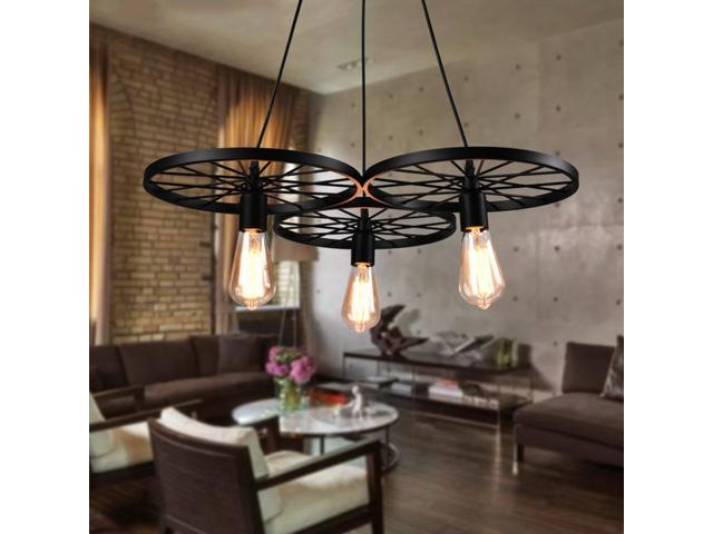 3 Arm Ceiling Light E27 Pendant Lamp Metal Wheels Chandelier Down Coffee Newegg