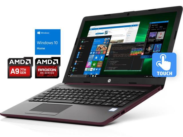 "HP 15.6"" HD Touchscreen Notebook - Burgundy, AMD Dual-Core A9-9425 Up to 3.7 GHz, 8 GB RAM, 128 GB SSD, DVDRW, HDMI, LAN, ..."