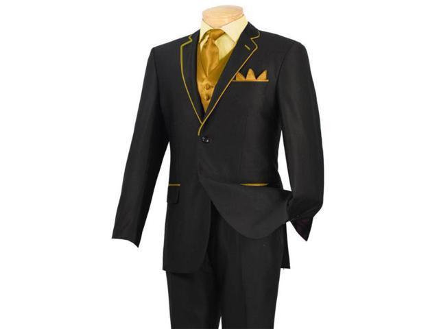 Tuxedo Black Gold Camel Khaki Trim Microfiber Two Button Notch 5