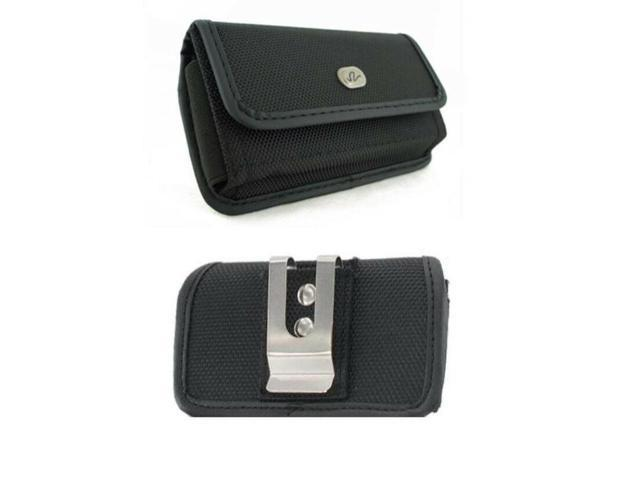 Black Canvas Case Belt Holster Pouch with Clip/Loop for