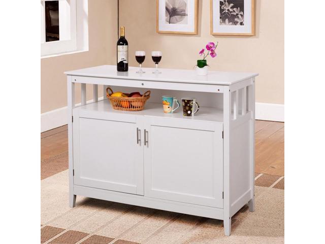 Modern Kitchen Storage Cabinet Buffet Server Table Sideboard Dining Wood White Newegg Com