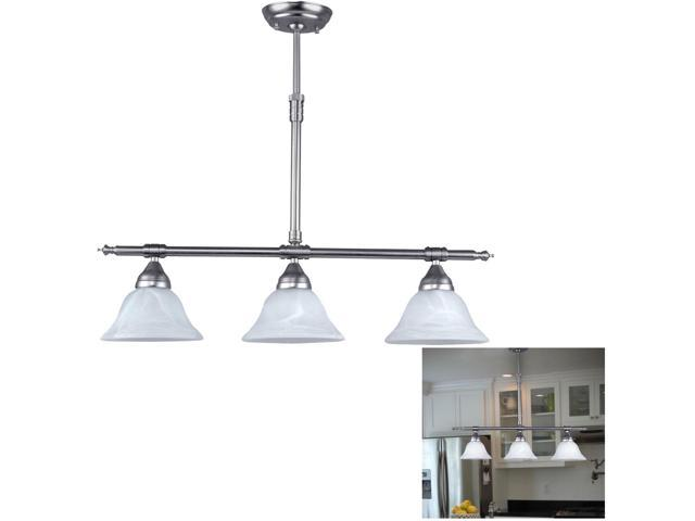 Brushed Nickel Kitchen Island Pendant Light Fixture Dining 3 Globe Bar Lighting Newegg Com