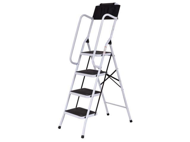 2 In 1 Non-slip 4 Step Ladder Folding Stool w/ Handrails and Tool Pouch  Caddy - Newegg com