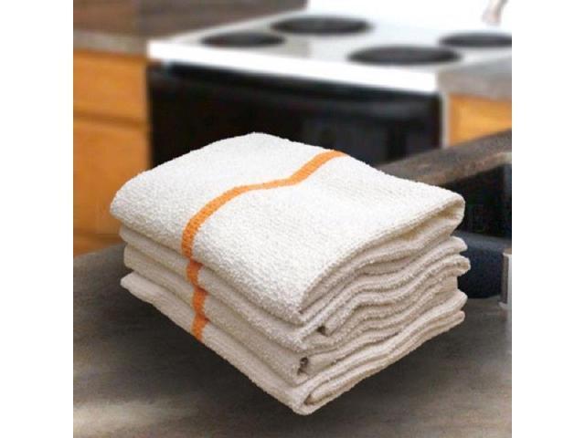 12 gold//orange stripe bar mops restaurant kitchen commercial towels 32oz