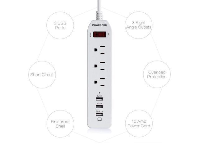 2Pack 6FT 3 USB 3 Outlet Power Strip Surge Protector Lightningproof Power Socket