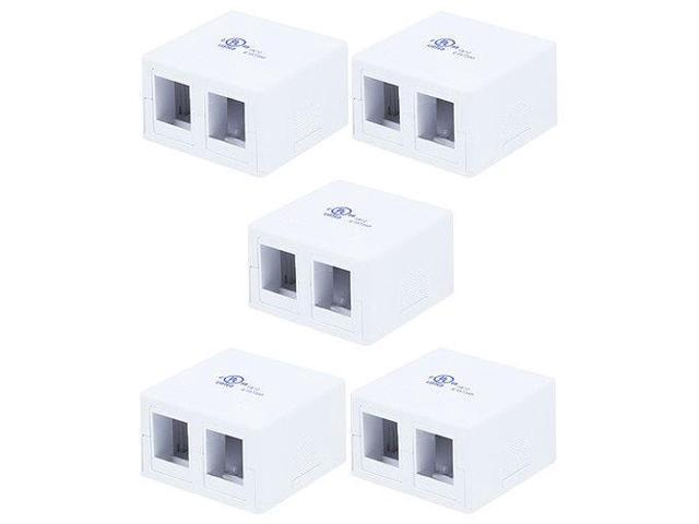5x 2 port Blank Modular Snap-in Keystone Wall Surface Mount Compact Box
