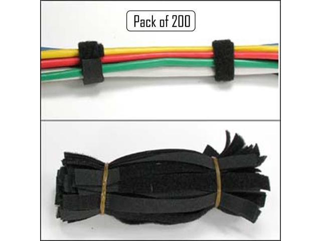 """200 x 9/"""" Black Cable Ties Straps Reusable Hook and Loop Wire Strap Tie"""