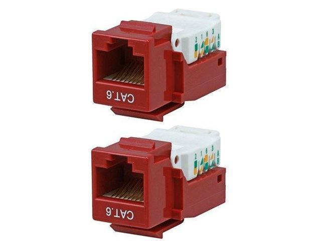 2x Cat6 Tool Less Network Snap-in Insert Jack for Keystone Wall Plate Red