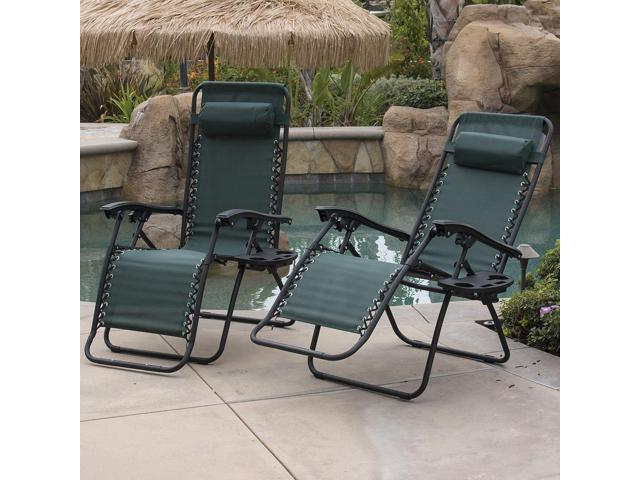 2Pcs Green Zero Gravity Patio Beach Chairs Outdoor Yard