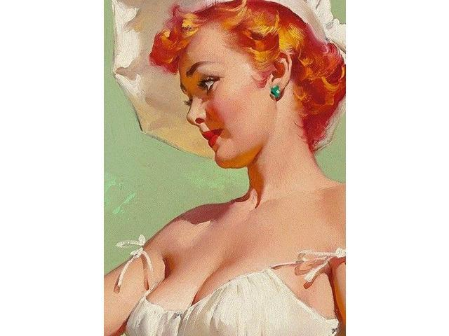 """1950/'s Elvgren RedHead Pin-Up Girl Poster /""""A Lot At Steak/"""" Barbeque 16x20"""