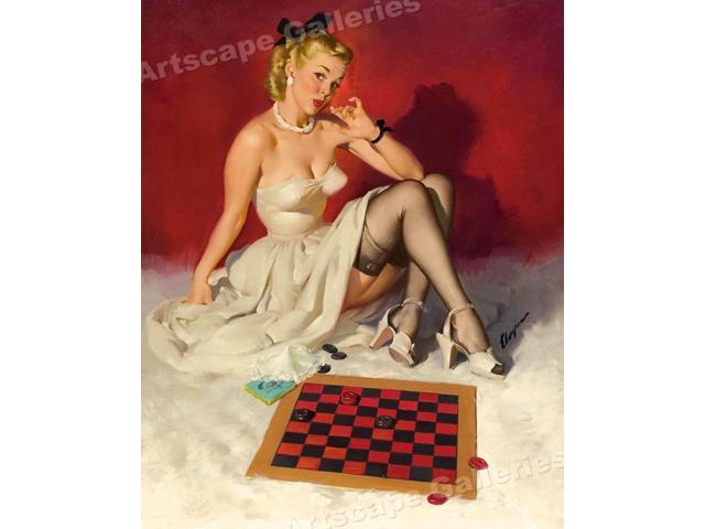 """1940/'s Elvgren Pin-Up Poster /""""Check and Double Check/"""" Checkers 24x30"""