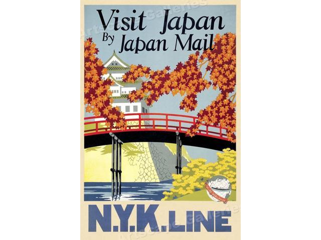 1930 Visit Japan by NYK Line - Vintage Style Japanese Travel Poster - 24x36  - Newegg com