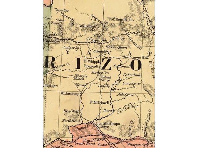 16x20 1867 New Mexico /& Arizona Historic State Map