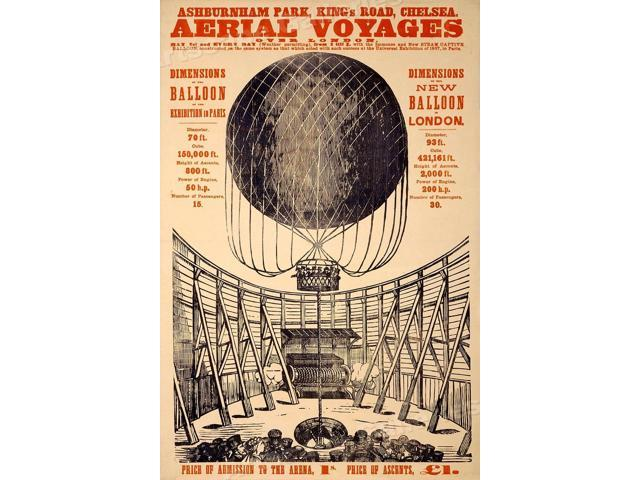 1870s London Aerial Voyages Hot Air Balloon Vintage Aviation Poster 24x36