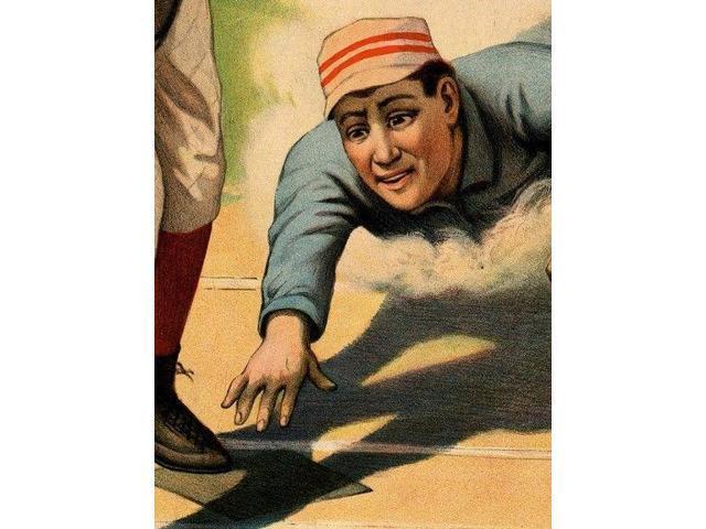 1897 Baseball Player Slide Art Print 24x30 Vintage Style Sports Poster