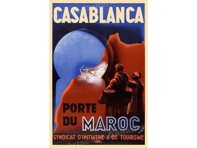 Casablanca Porte Du Maroc 1930s Vintage Style Travel Poster 20x30