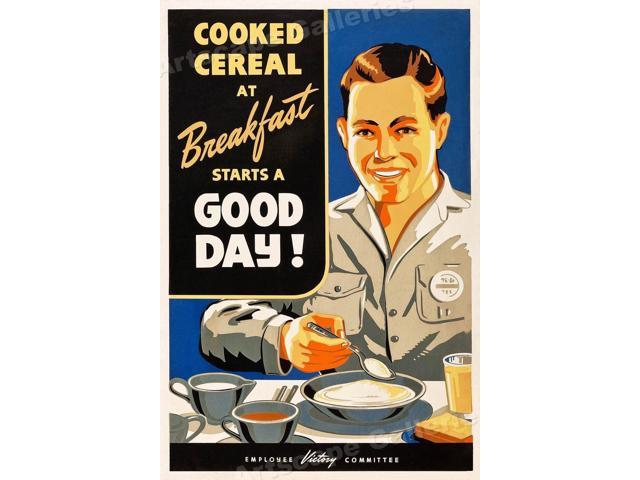 """/""""Breakfast Starts a Good Day!/"""" 1940s Vintage Style WWII Poster 16x24"""