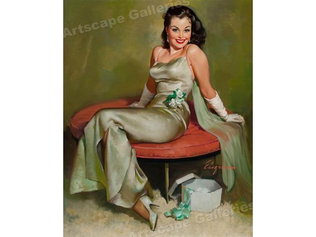 "1950/'s Elvgren Pin-Up Girl Poster /""Captivating/"" 24x30"