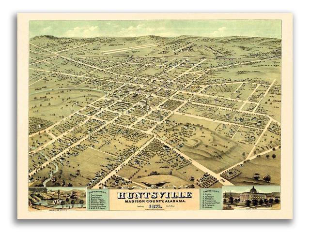 24x32 Huntsville Alabama 1871 Historic Panoramic Town Map
