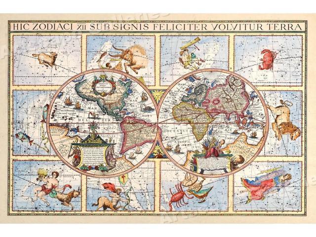 1600\'s Astrology Interesting Old World Map - 24x36 - Newegg.com