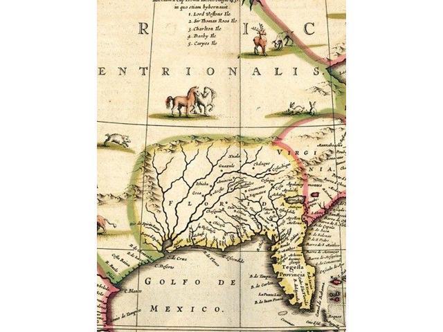 Western Hemisphere 1595 Vintage Style New World Exploration Map 24x30
