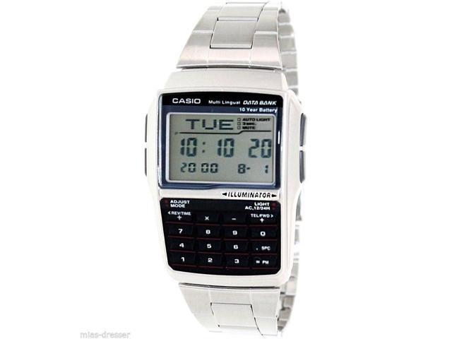 Casio Dbc32d 1a Mens Stainless Steel Data Bank Calculator Watch Telememo 25 New Newegg Com