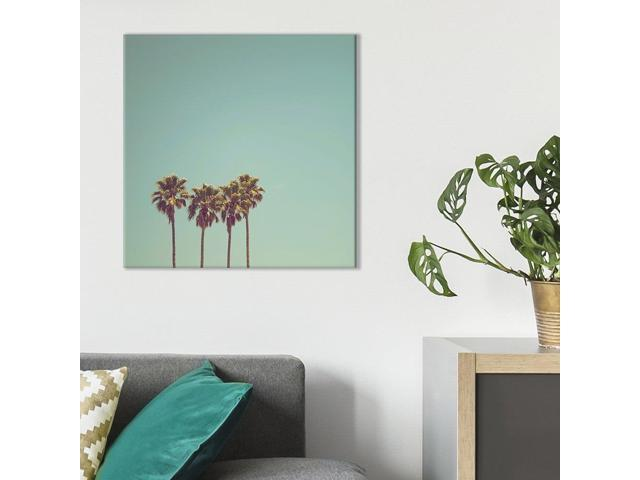 Wall26 Square Canvas Wall Art Retro Style Tall Palm Trees In California Giclee Print Gallery Wrap Modern Home Decor Ready To Hang 12x12 Inches