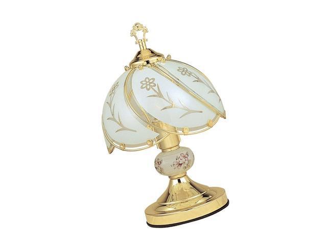 Antique Brass Ore International K318 Smoked Glass Wheat Barley Scene Touch Lamp
