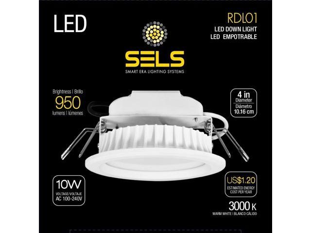 best service 56a99 8157e SELS LED Recessed Light, Led Downlight, 10 Watts, 4 Inch, 950 Lumens, Soft  White - Newegg.com