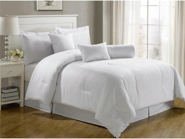 Royal Calico QUEEN Size WHITE 7 Piece Comforter Set, Damask