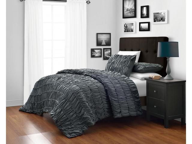 Ruched King Cal Size Charcoal Grey