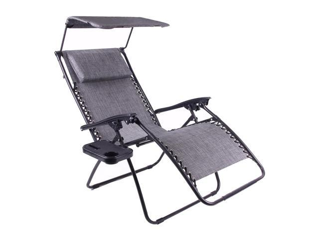 Just Relax Zero Gravity Chair With Pillow, Canopy, And Clip On Table,