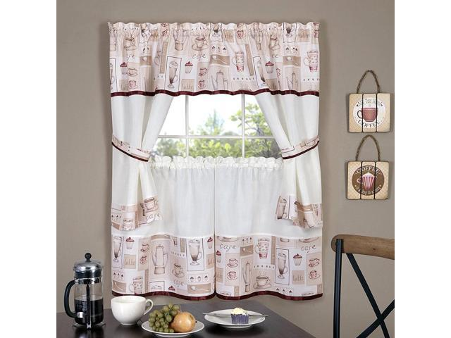 Cappuccino Printed Kitchen Curtain Tiers & Swag Set, 56x36 Inches