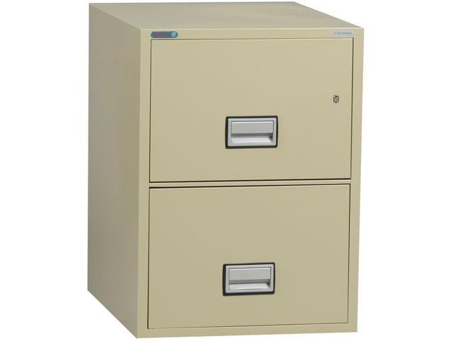 Phoenix Vertical 25 Inch 2 Drawer Legal Fireproof File Cabinet Putty