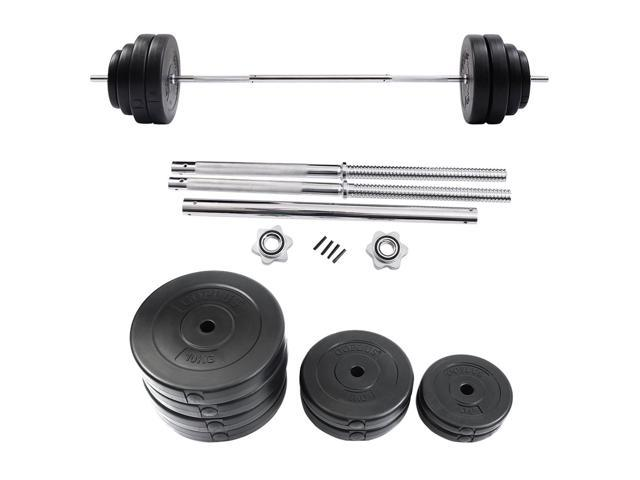 132 Lb Barbell Dumbbell Weight Set Gym Lifting Exercise Curl Bar Workout