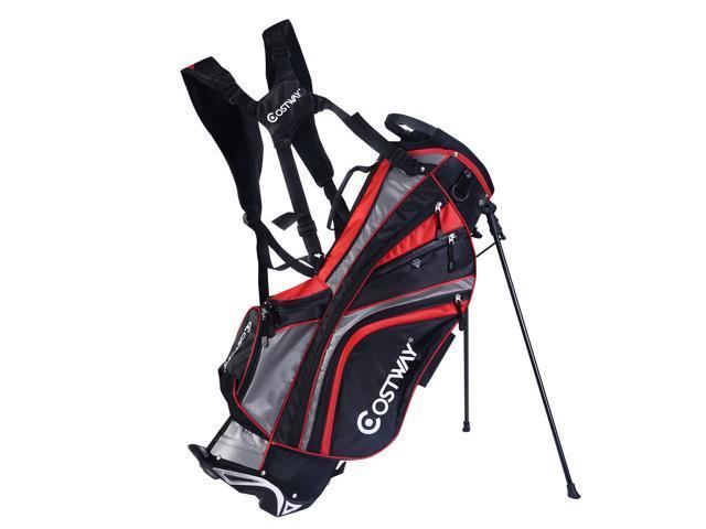7c9f438fa8 Hyper-Lite Golf Stand Cart Bag 6 Way Divider w/Shoulder Strap + Rain Cover  Red