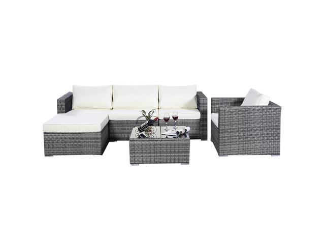 6pc Furniture Set Aluminum Patio Sofa Pe Gray Rattan Couch 2 Cushion Covers