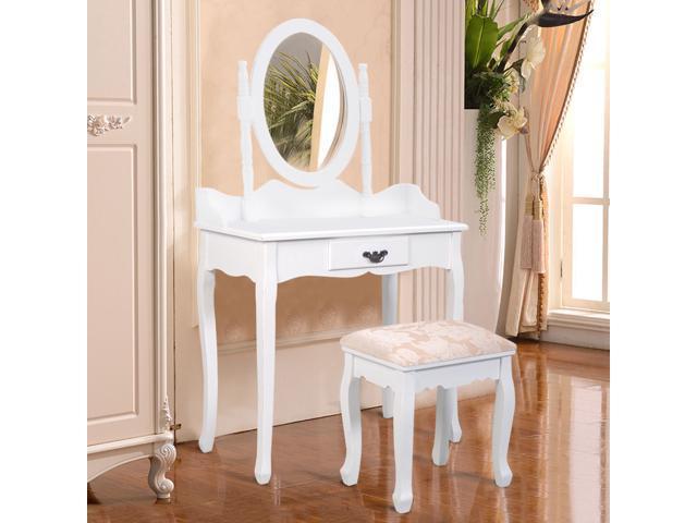 hot sale online d3df1 21c69 White Vanity Makeup Dressing Table Stool Set Jewelry Desk W/ Drawer &Mirror  - Newegg.com