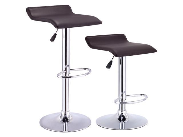 Pleasing Set Of 2 Swivel Bar Stool Adjustable Pu Leather Backless Pabps2019 Chair Design Images Pabps2019Com