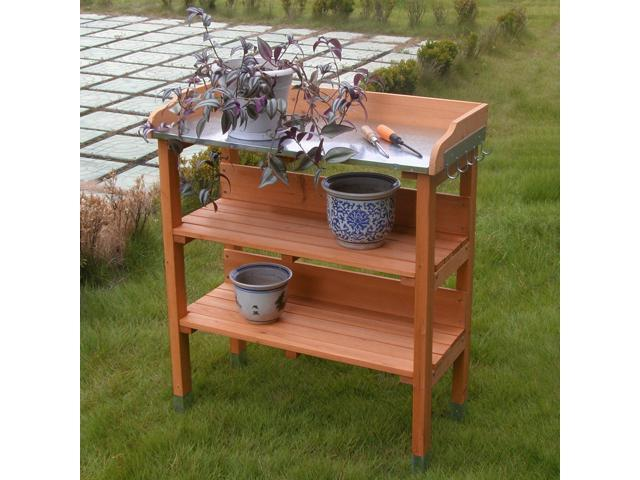Fantastic Outdoor Garden Wooden Potting Bench Work Station Table Tool Storage Shelf W Hook Newegg Com Evergreenethics Interior Chair Design Evergreenethicsorg