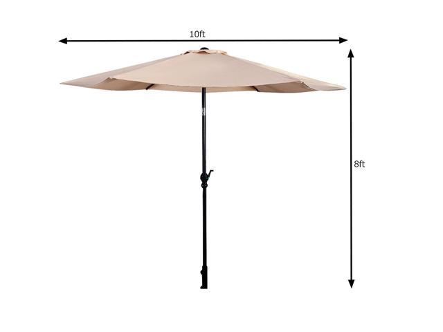 GoPlus 10FT Patio Umbrella 6 Ribs Market Steel Tilt W/ Crank Outdoor Garden Beige  sc 1 st  Newegg.com : crank patio umbrellas - thejasonspencertrust.org