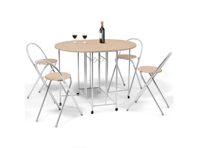 5PC Foldable Dining Set Table and 4 Chairs Breakfast Kitchen Furniture -  Newegg.com