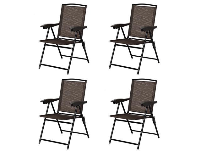 Phenomenal 4Pcs Folding Sling Chairs Steel Armrest Patio Garden Camping W Adjustable Back Gmtry Best Dining Table And Chair Ideas Images Gmtryco
