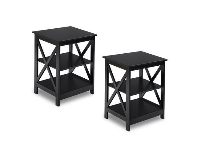 2pcs 3 Tier Nightstand End Table Storage Display Shelf Living Room Furni Black